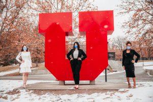 Tiffany Chan, Jess Wojciechowski, and Maryan Shale stand in front of the Block U.